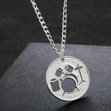 """DRUMS BAND ROCK  MUSIC pendant 20"""" Sterling Silver 925 necklace chain female men"""