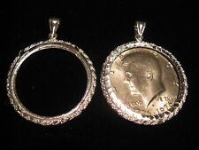 Silver Kennedy Half Dollar Holder and - or Pendant as well Bezel. COIN HOLDER