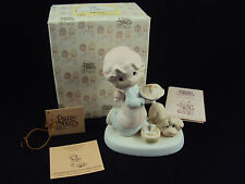 Precious Moments E2375 Dropping Over For Christmas Girl with Pie Free Shipping