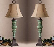 Gorgeous Designer Aqua TURQUOISE Blue Ceramic Accent TABLE LAMP Pair Set Luxury