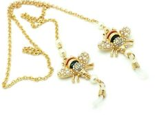 Bumblebee Bee Gold plated Crystal Eye Glass Holder Woman's Necklace