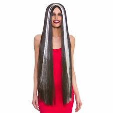 Extra Long Morticia Wig Adams Family Halloween Fancy Dress Wig Black & Silver
