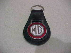 MG  LEATHER KEY FOB IN BLACK & RED