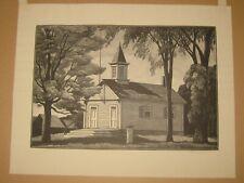 Rare 1942 THOMAS W NASON 'District Schoolhouse' LYME Connecticut Wood Engraving