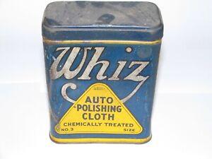 1920s 1930s WHIZ R.M. HOLLINGSHEAD Auto Polishing Cloth Tin Can CLOTH INCLUDED