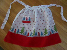 Vintage MOD 1960s CHRISTMAS Hostess Apron~Green Blue Red Trees