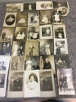 Large Lot Of Antique Real Photo Postcards RPPC-Men-Women- Couples-Babies