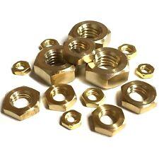 M4 M5 M6 M7 M8 M10 Metric Hexagon Brass HALF Nuts - Thin Lock Nut - DIN 439 SF