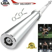 "86"" Olympic Curl Bar Weight Lifting Barbell Equipment Chrome Steel Workout Gym"