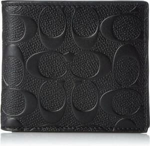 New Coach Wallet In Black Signature Leather