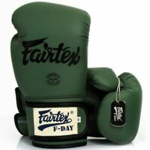 Fairtex Limited Ed BGV11 F Day Military Green Muay Thai Boxing Gloves Retail box