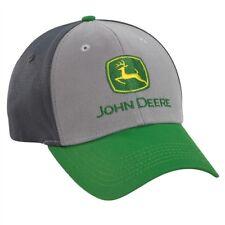 JOHN DEERE *COLORBLOCK GREEN & GREY FITTED* HAT CAP *BRAND NEW*