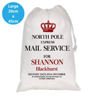 PERSONALISED CHRISTMAS WHITE SANTA KIDS SACK NORTH POLE LARGE 30X45CM STOCKING