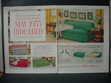 1955 Simmons Hide-a-Bed Luxury Sofa Couch Furniture Vintage Print Ad 10857