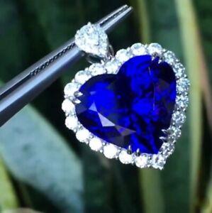 4Ct Heart Brilliant Cut Blue Sapphire & Diamond Halo Pendant 14K White Gold Over