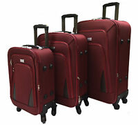 New 4 Wheel Spinner Suitcase Set Luggage Trolley Case Cabin Hand Canvas RED
