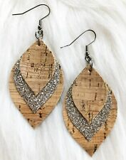 Natural Cork Gold Flake / Champagne Glitter  Faux Leather Earrings Triple Layer