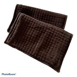 """2 Crate & Barrel Quilted Sham Standard Pillow Plaza Cocoa 20"""" x 26""""  Chocolate"""