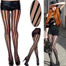 Black Punk Rock Gothic Emo Striped Tights Sheer Vertical Stripes Pantyhose Pants