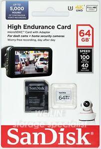 SanDisk High Endurance 64GB microSD card Class10 Dash Cam Surveillance Security