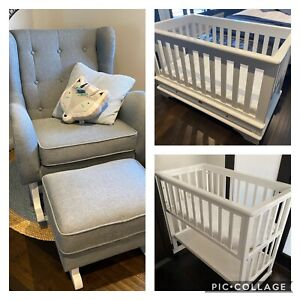 Nursery Furniture Set Incl Cot, Bassinet And Rocking Chair