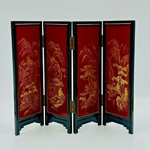 """Small Asian Screen Tabletop Lacquered Wood Black Red Gold 4 Panel 11.5"""" Tall"""