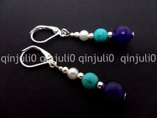 PURPLE JADE TURQUOISE & WHITE BEAD SILVER PLATED LEVERBACK HOOK EARRINGS JE130