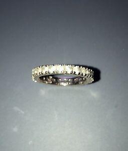 2.2 ct 14k White Gold  Blue Aquamarine Eternity Band Ring Engagement Stackable