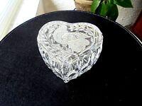 Fine Crystal Heart Shape Bird Design 2 Piece Keepsake Box