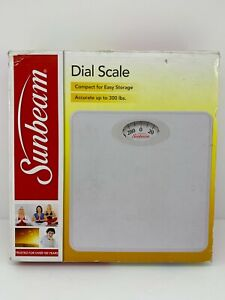SUNBEAM SAB700-01 Dial Bathroom Scale Accurate to 300lbs Compact White BRAND NEW