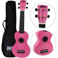 Left Handed Mahalo Soprano Ukulele Pink With  Case UK SELLER