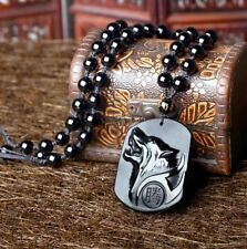 Wolf Totem natural Obsidian stone pendant necklace good luck charm pendant