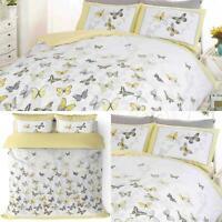 Yellow Duvet Covers Flutter Butterflies Floral Reversible Bedding Quilt Sets