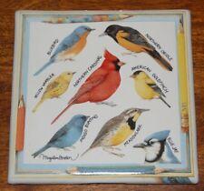 "Marjolein Bastin 6"" Ceramic Nature's Sketchbook Birds Trivet Wall Plaque"