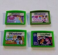 Lot Of 4 Leap Frog Game Cartridges Bow-tique Disney Math 3 Explorer 1 LeapPad