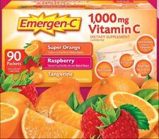 Emergen-C 90 Packets (1000 mg) Vitamin C Drink Mix: Orange, Raspberry, Tangerine