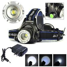 2000LM Zoomable CREE XM-L T6 LED HeadLamp HeadLight Rechargeable + AC Charger