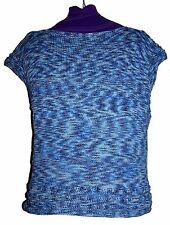 Maglia Blu melange Artigianale Cotone 100% Maglione Tg L SALDI 50%