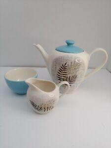 Vintage Rare 1950/60s J&G MEAKIN  Teapot, sugar bowl and milk Jug Rock Fern