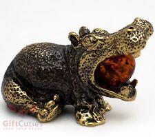 Solid Brass Amber Figurine Hippopotamus Hippo Behemoth talisman IronWork