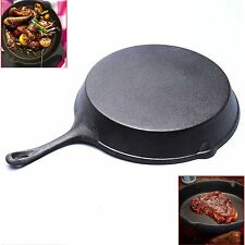 New XL 31cm CAST IRON Frying Fry Pan Induction Cooking Grill Pan Barbecue BBQ