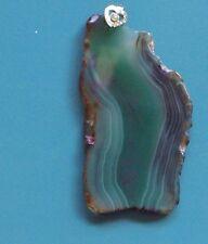"""big 3.5"""" green agate slice pendant solid 925 silver bale, a biggie!"""