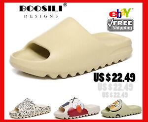 Men's Summer YZY Slides Breathable Cool Beach Sandals Flip Flops Fish Mouth Men