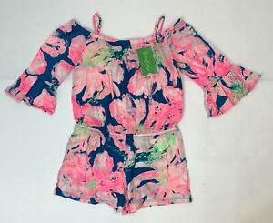 Lilly Pulitzer Girls Blue/ Pink Size 4-5 Cotton Mini Calla Romper