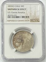 1855 SO Chile 50c Silvee (50c Centavos) NGC Shipwreck Effect SS Central America