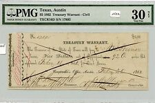 Obsolete $5 Austin, TX Treasury Warrant (#1122) PMG VF30 Net (See Photos). Caref