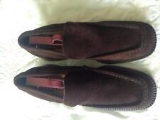VS Brown Suede Loafer Style Shoes Size 7 1/2 Narrow 1 1/2 Inch Heels Square Toes