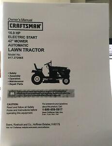 "Owner's Manual Sears Craftsman 16 HP Lawn Tractor 42"" Mower - Model 917.272065"