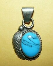 ~VINTAGE~NATIVE~NAVAJO~STERLING~SILVER~w/~MATRIX~TURQUOISE~ORNATE~PENDANT~SIGNED