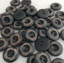 100 Pcs Black Flower Round Wooden Button For Sewing/Scrapbook Crafts mnk117